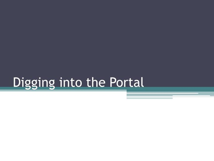 Digging into the Portal