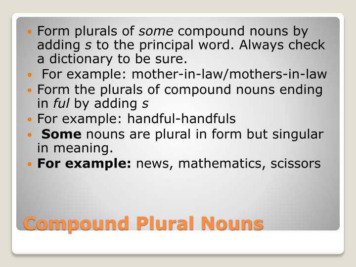 Form plurals of