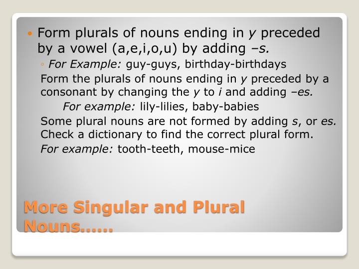 Form plurals of nouns ending in