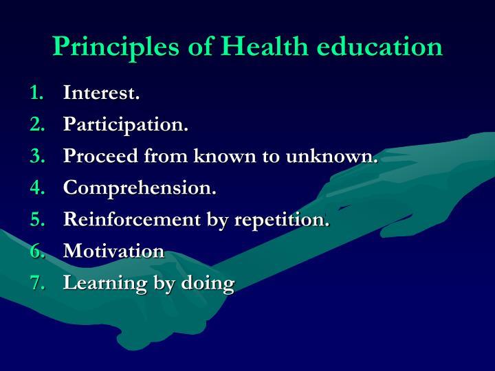 Principles of Health education