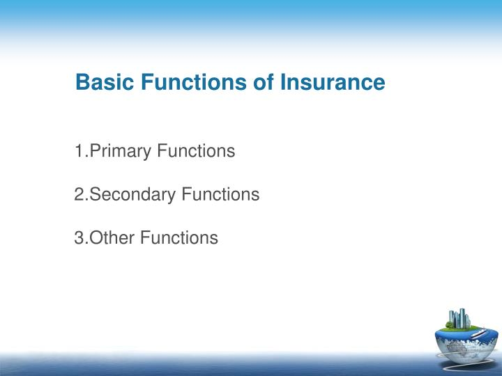 Basic Functions of Insurance