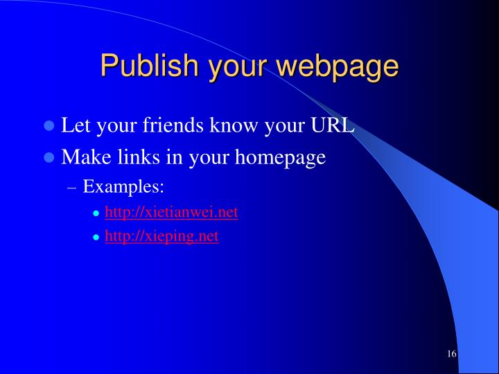 Publish your webpage