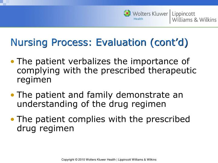 Nursing Process: Evaluation (cont'd)