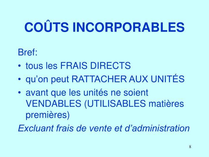 COÛTS INCORPORABLES