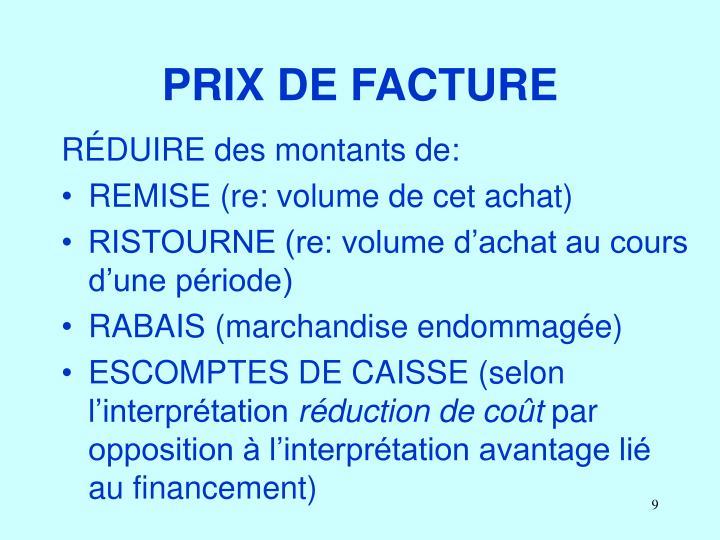 PRIX DE FACTURE