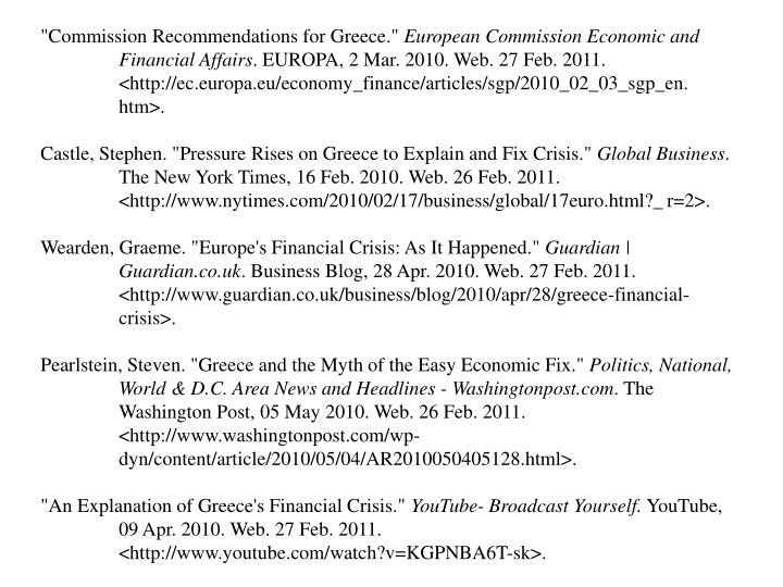 """Commission Recommendations for Greece."""