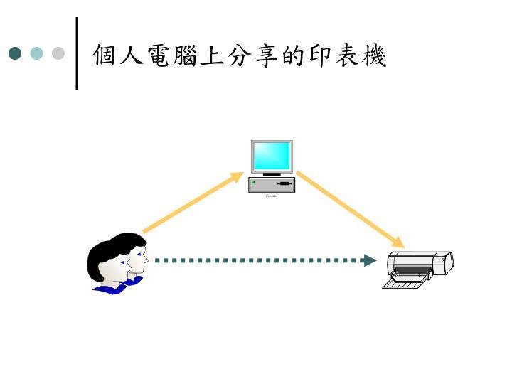 個人電腦上分享的印表機