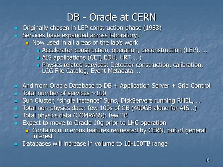 DB - Oracle at CERN