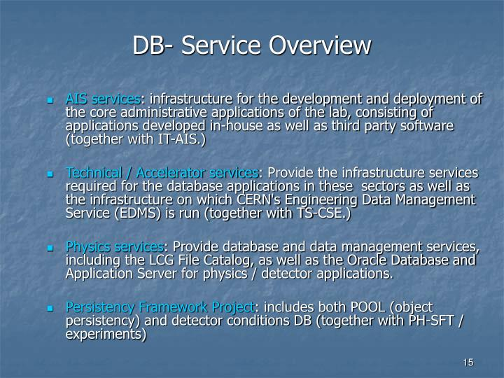DB- Service Overview