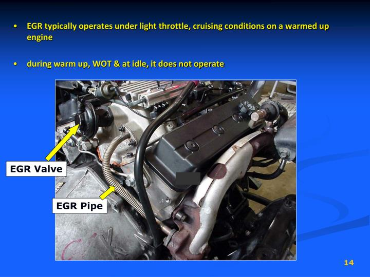 EGR typically operates under light throttle, cruising conditions on a warmed up engine
