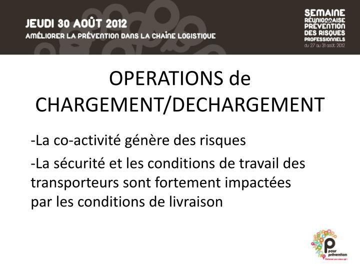 OPERATIONS de CHARGEMENT/DECHARGEMENT