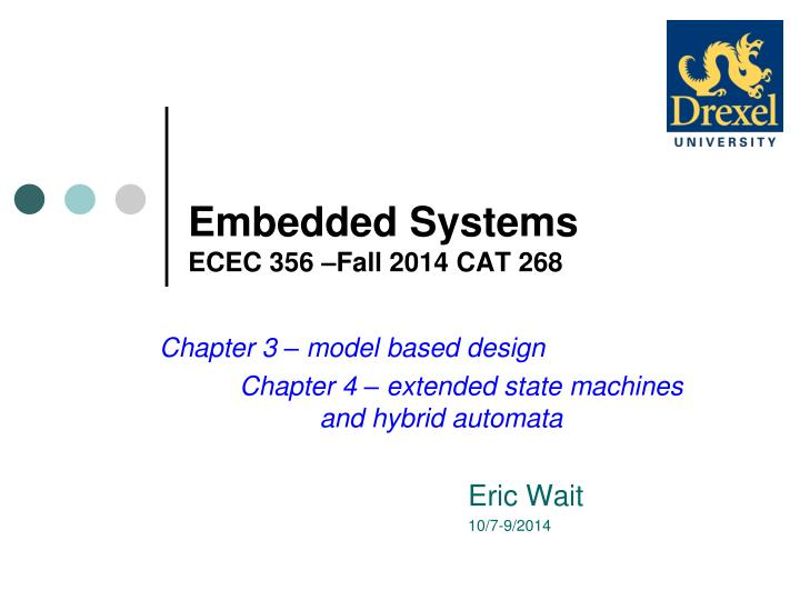 Embedded systems ecec 356 fall 2014 cat 268