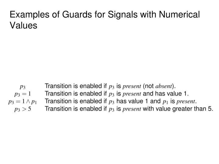 Examples of Guards for Signals with Numerical Values
