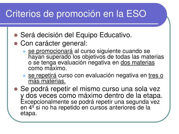 Criterios de promoción en la ESO