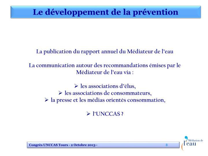 Le développement de la prévention