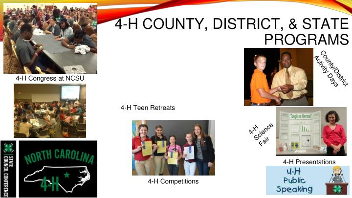 4-H COUNTY, DISTRICT, & STATE PROGRAMS