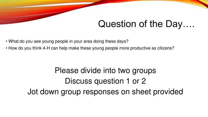 Question of the Day….