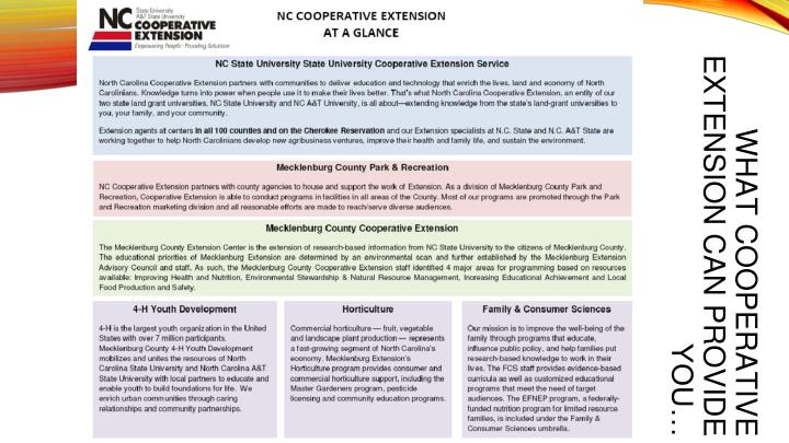 WHAT COOPERATIVE EXTENSION CAN PROVIDE YOU…