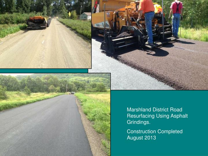 Marshland District Road Resurfacing Using Asphalt Grindings.
