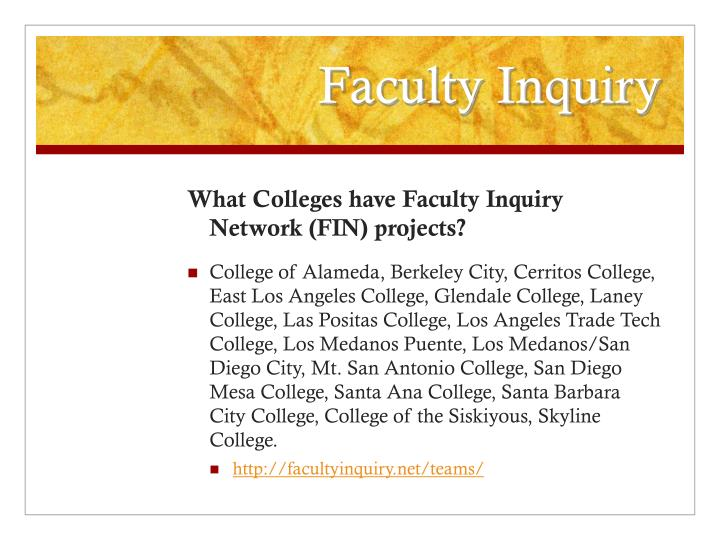 Faculty Inquiry