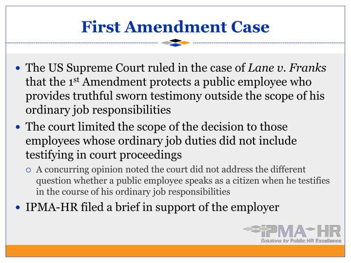 First Amendment Case