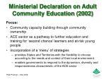 ministerial declaration on adult community education 2002