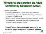 ministerial declaration on adult community education 20021