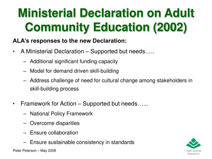 Ministerial Declaration on Adult Community Education (2002)