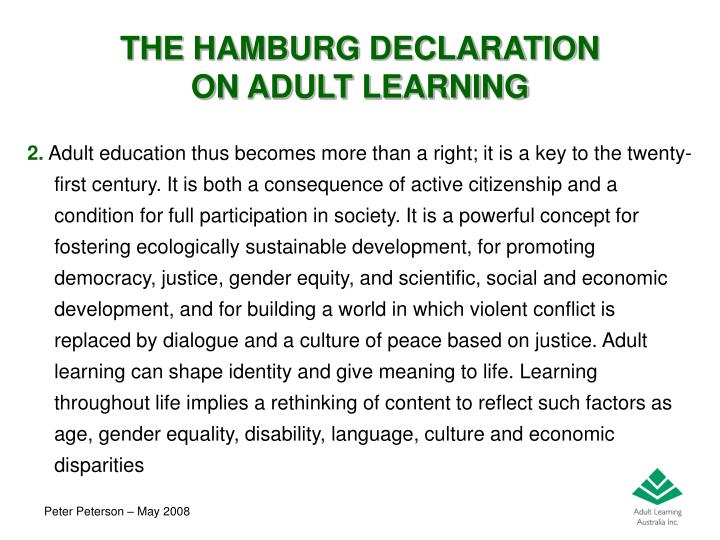 The hamburg declaration on adult learning