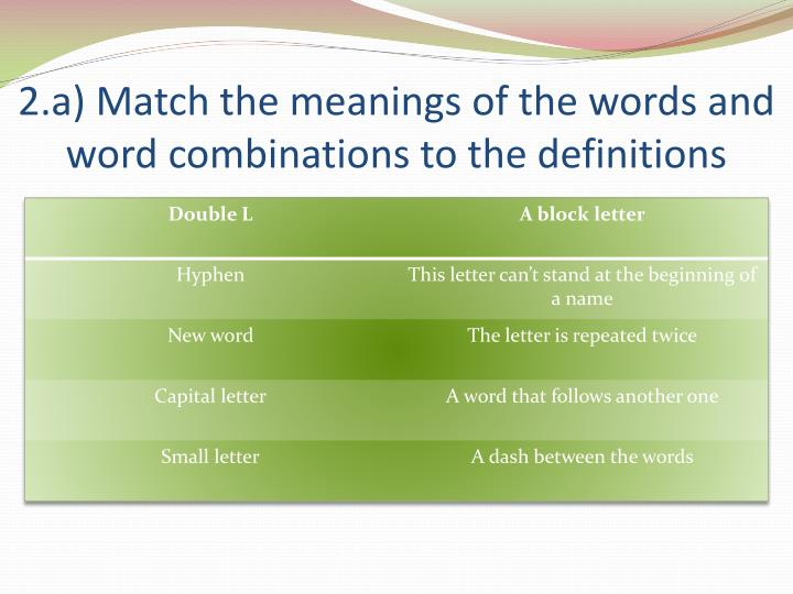 2 a match the meanings of the words and word combinations to the definitions
