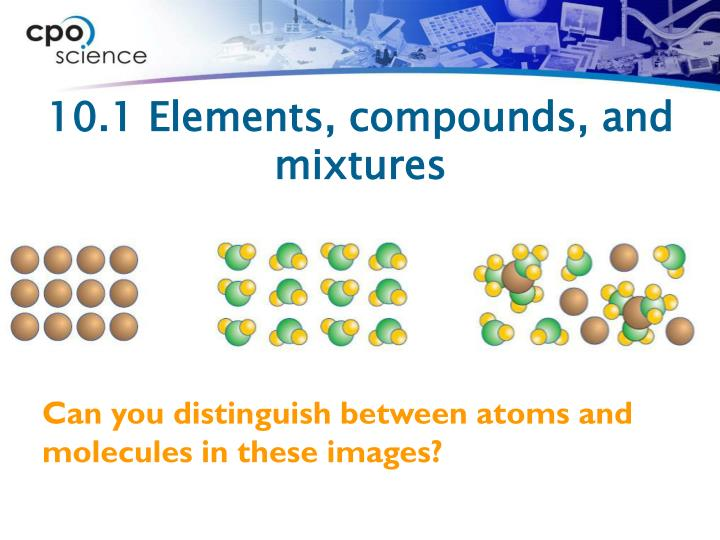 10.1 Elements, compounds, and mixtures