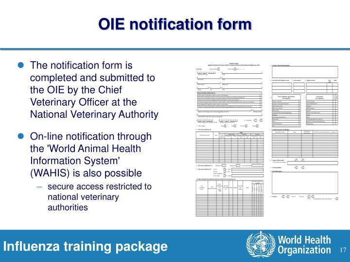 OIE notification form