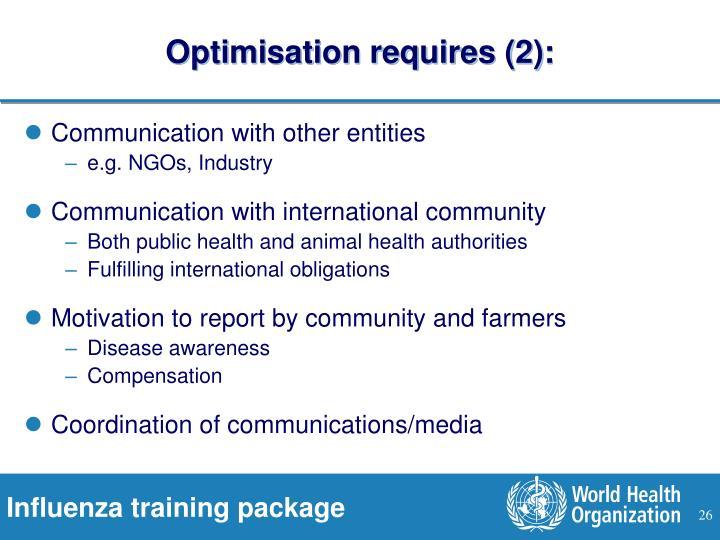 Optimisation requires (2):
