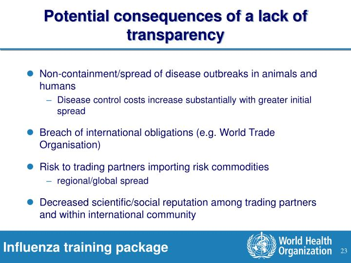 Potential consequences of a lack of transparency
