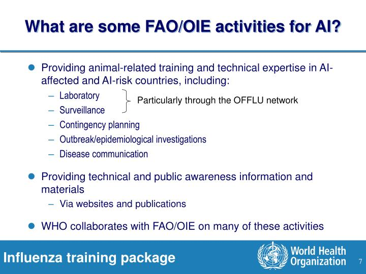 What are some FAO/OIE activities for AI?