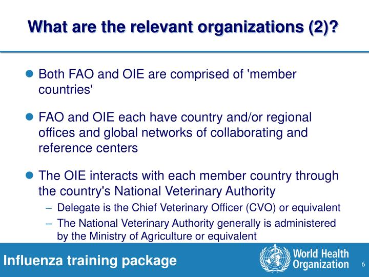 What are the relevant organizations (2)?