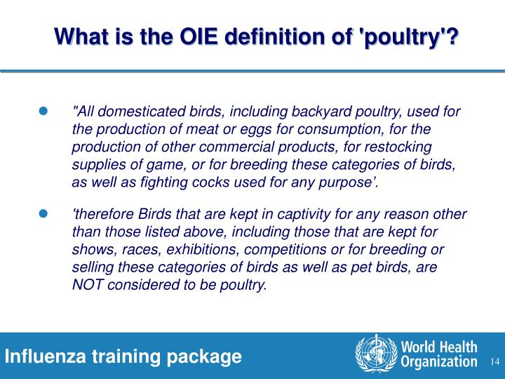 What is the OIE definition of 'poultry'?