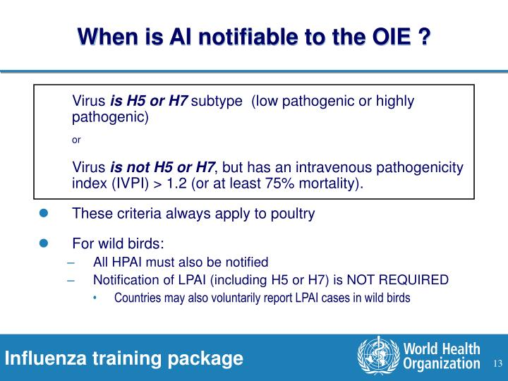 When is AI notifiable to the OIE ?