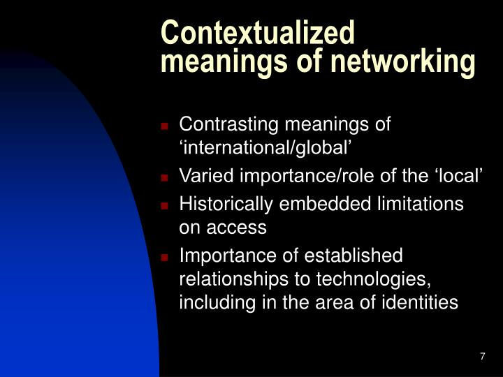 Contextualized meanings of networking
