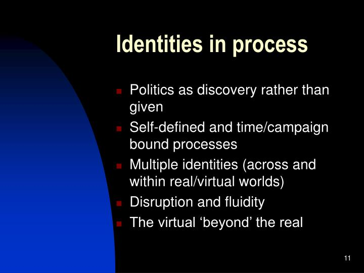 Identities in process