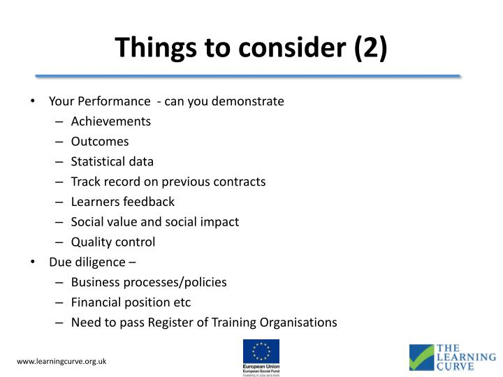 Things to consider (2)