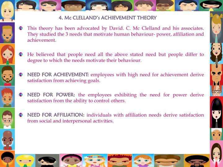 4. Mc CLELLAND's ACHIEVEMENT THEORY
