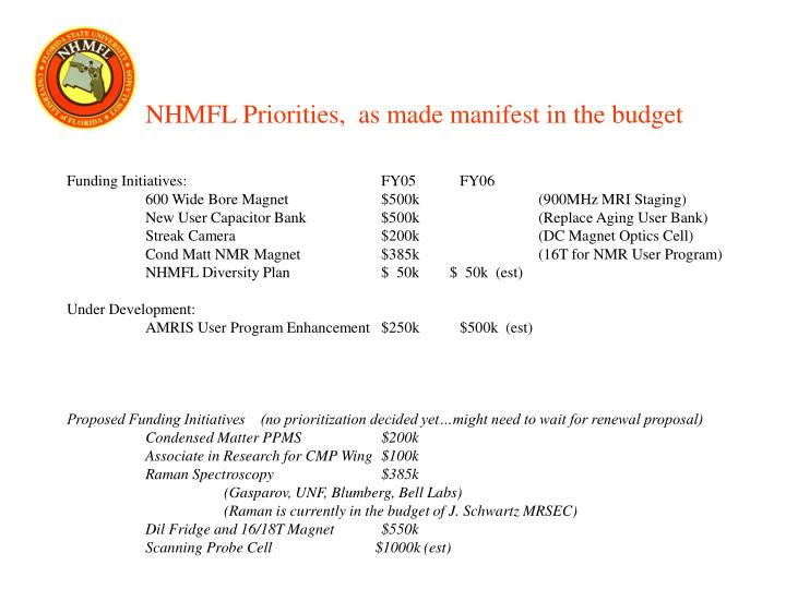 NHMFL Priorities,  as made manifest in the budget