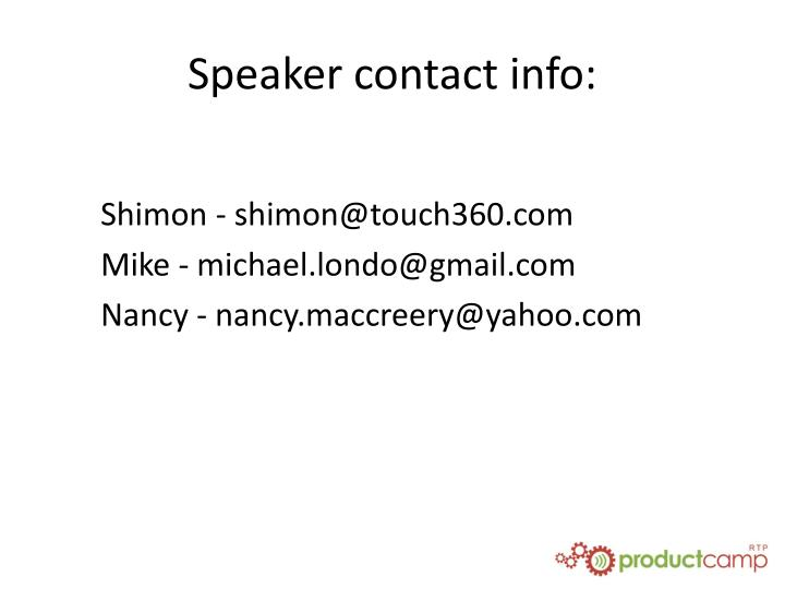 Speaker contact info:
