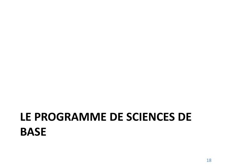 Le programme de sciences de base
