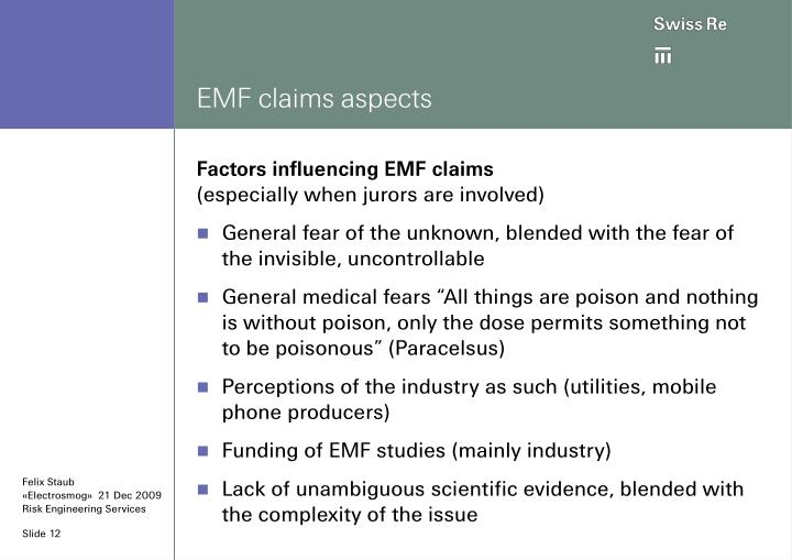 EMF claims aspects