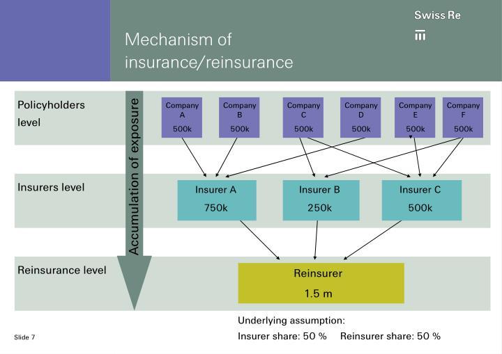 Mechanism of insurance/reinsurance