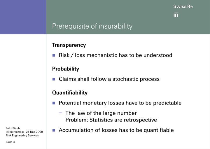 Prerequisite of insurability