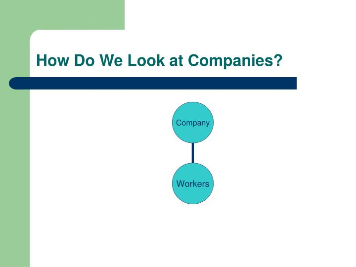 How Do We Look at Companies?