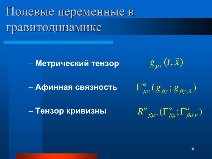 Полевые переменные в гравитодинамике
